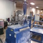 PBC-59: Nordson 200lb Fluidizing Hopper w/ Azo Sieve, Accumulator & 13 Powder Pumps